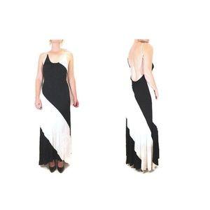 Backless Stretch Jersey B&W Tuxedo Maxi Dress